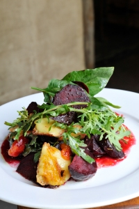 Roast beetroot salad with apricot chutney, grilled mozzarella fresh greens